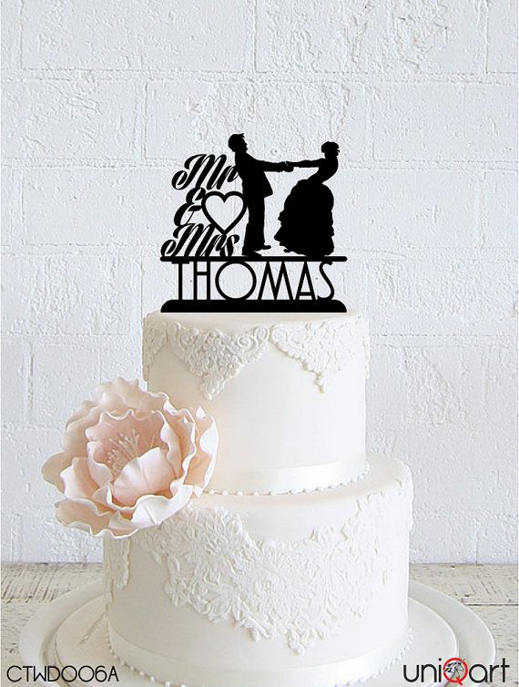 Bride and Groom Personalized Wedding Cake Topper, Customizable Lastname, Removable Stakes, Free Base for After Event, Gift CTWD006A