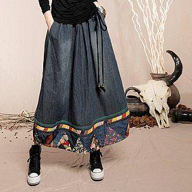 Юбки : Длинная юбка с карманами в боковых швах и отделкой по низу в этническом стиле