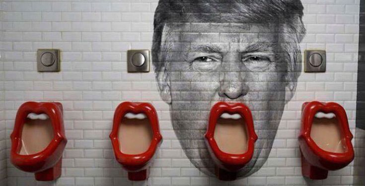 """This is just too good not to post: a Donald Trump urinal """"art piece."""" Now, I'm not entirely sure if this is real or just a concept. The Rolling Stones-inspired urinals are from a bar in Paris. When I Google them or do a reverse image search, the urinals always come up sans Trump. Sadly, I'm going with my gut and concluding this is just a fun Photoshop job. I really wanted to believe, though. Can someone please REALLY DO THIS? Please? via Christian Nightmares"""