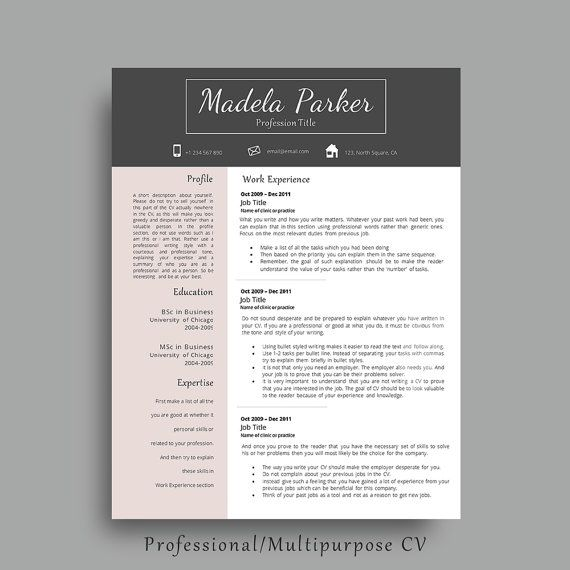 Professional Resume Template With Matching Cover Letter and Additonal References Page. Modern CV Template. By AvataDesigns