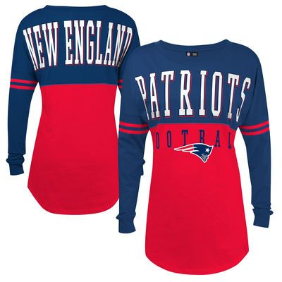 5th & Ocean by New Era New England Patriots Women's Red Baby Jersey Spirit Top Long Sleeve T-Shirt