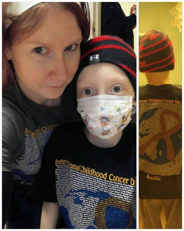 """Nicky Lampman: """"Here is myself with my cancer fighter, Kiel! He is 7 years old fighting ARMS fur the 2nd time! frown emoticon Thank you for the awesome shirts! smile emoticon""""  #2016ICCD #ICCDShirts #ICCD #ACCO"""