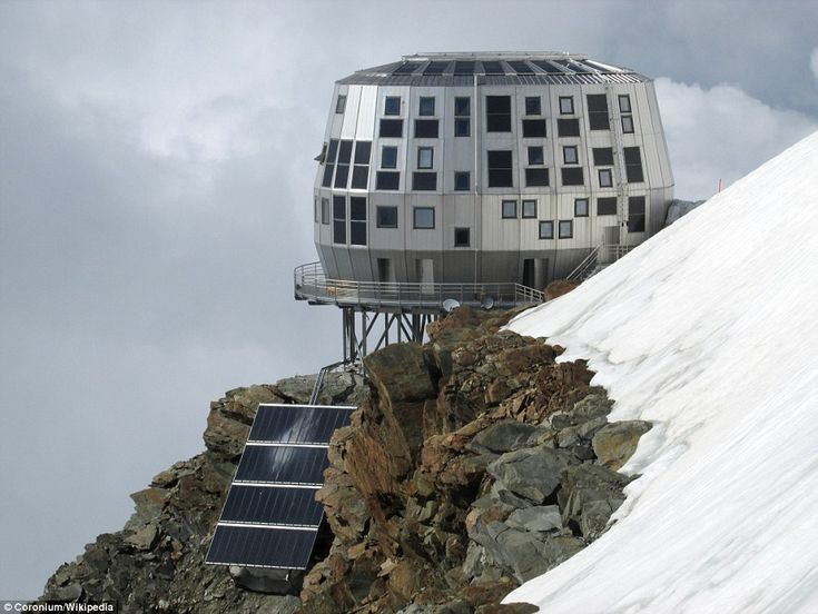 Refuge Du Goûter in the Alps is anincredible hotel that looks like it is just missing a g...