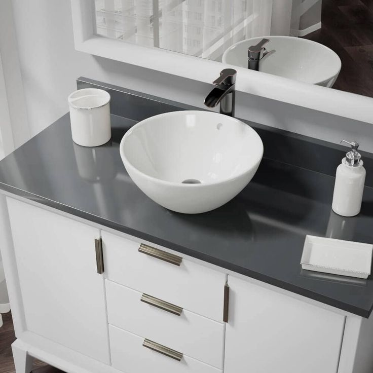 Rene by Elkay R2-5031-B-R9-7007 Biscuit Porcelain Vessel Sink with Vessel Faucet and Vessel Pop-Up Drain (