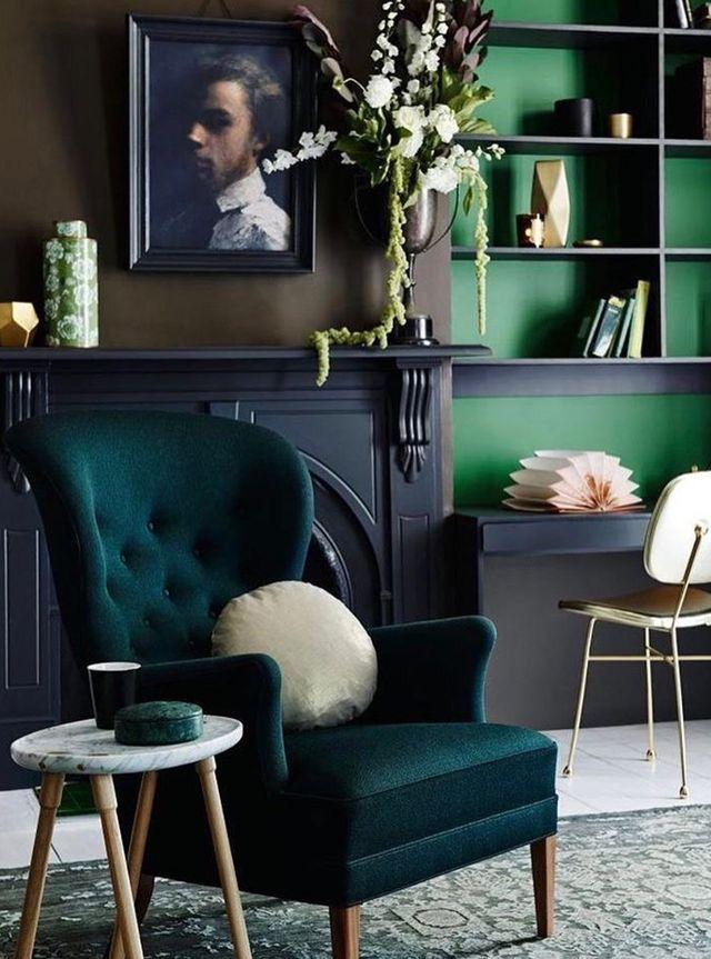 Green Study Modern Victorian Decor Victorian Living Room House Interior