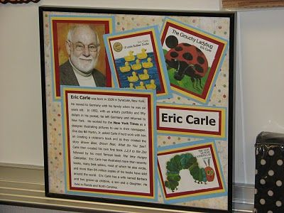 Love the author study frame idea- name & pic of author plus a few of their books and an about-the-author blurb.  After we're done with each author study, I'm sure these would look great in our classroom library throughout the year as well.