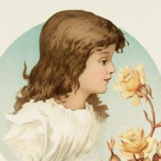 Today I'm sharing this Old Pastel Roses and Girl Graphic! A sweet brown haired girl in a frilly, white pinafore dress looks at a soft yellow rose. She has a round frame of aqua behind her and the lovely roses and rose hips trail along the right side with petals softly falling. So nice to...Read More »