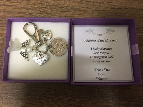 Personalised mother of the groom gift lucky sixpence keyring
