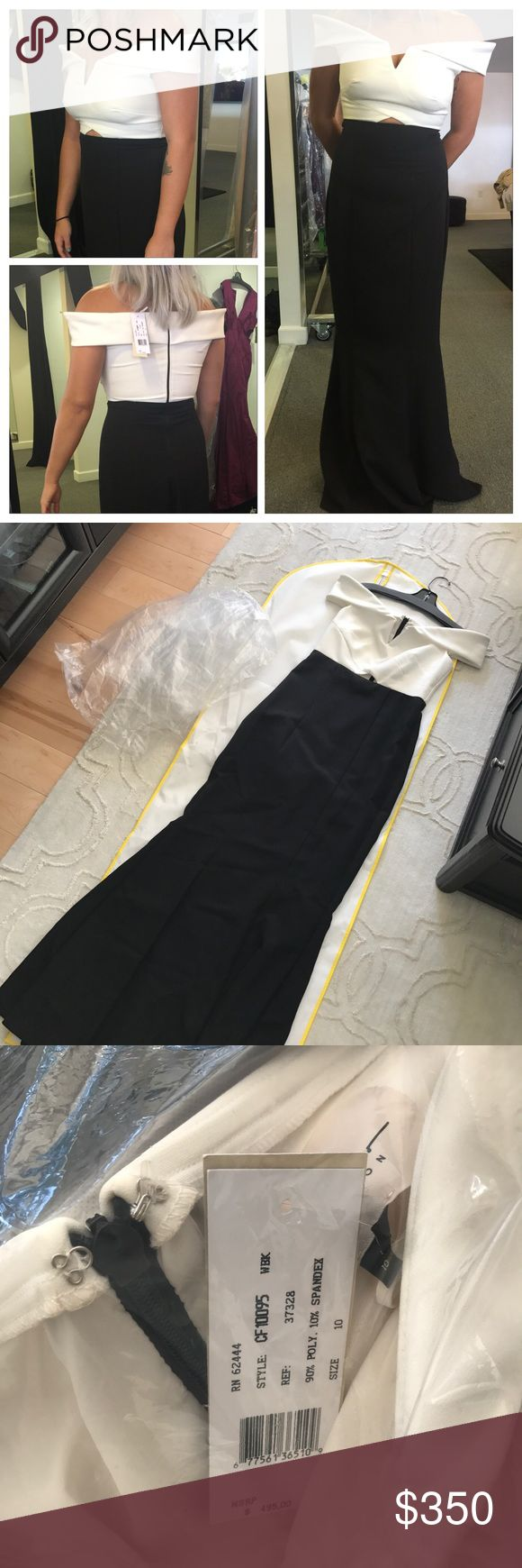 Nicole Miller off shoulder color block gown Sz 10 color block white and black gown by Nicole Miller. Hard to find, super chic yet comfortable gown that is simple but the same absolutely makes a statement. Was supposed to be for my maid of honor's dress but we had trouble locating more 😩 but our bad luck is ur gain! She's a beauty! Nicole Miller Dresses Prom