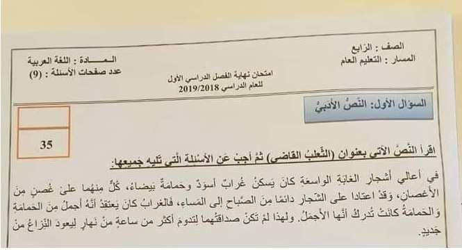 الامتحان الوزارى لغة عربية للصف الرابع الفصل الاول 2018 2019 Exam School Boarding Pass