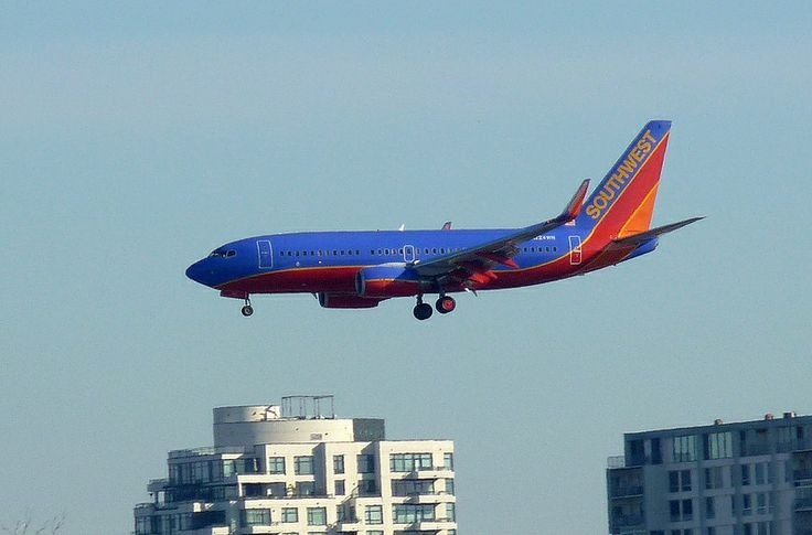 A Southwest Airplane Landing at San Diego Airport, California