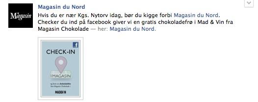 Checker du ind på facebook giver Magasin en gratis chokoladefrø i Mad & Vin fra Magasin Chokolade — her: Magasin du Nord.