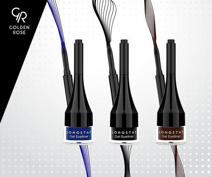 Podkreśl swoją wyjątkowość z żelowym eyelinerem Longstay Gel Eyeliner, dostępnym w trzech wyjątkowych kolorach.