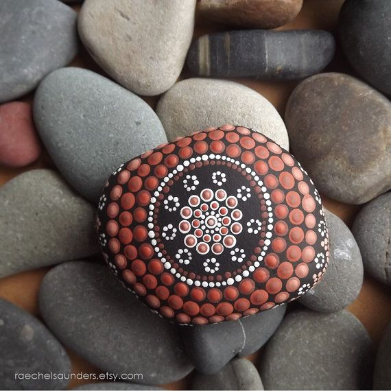 Earth design, Aboriginal Dot Art Painted Stone, Painted rock, Acrylic Painting, water decor, ornament or paper weight