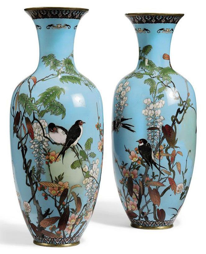 A PAIR OF JAPANESE CLOISONNE VASES | MEIJI PERIOD, LATE 19TH CENTURY | birds, All other categories of objects | Christie'… | Vase, Japanese vase, Porcelain painting