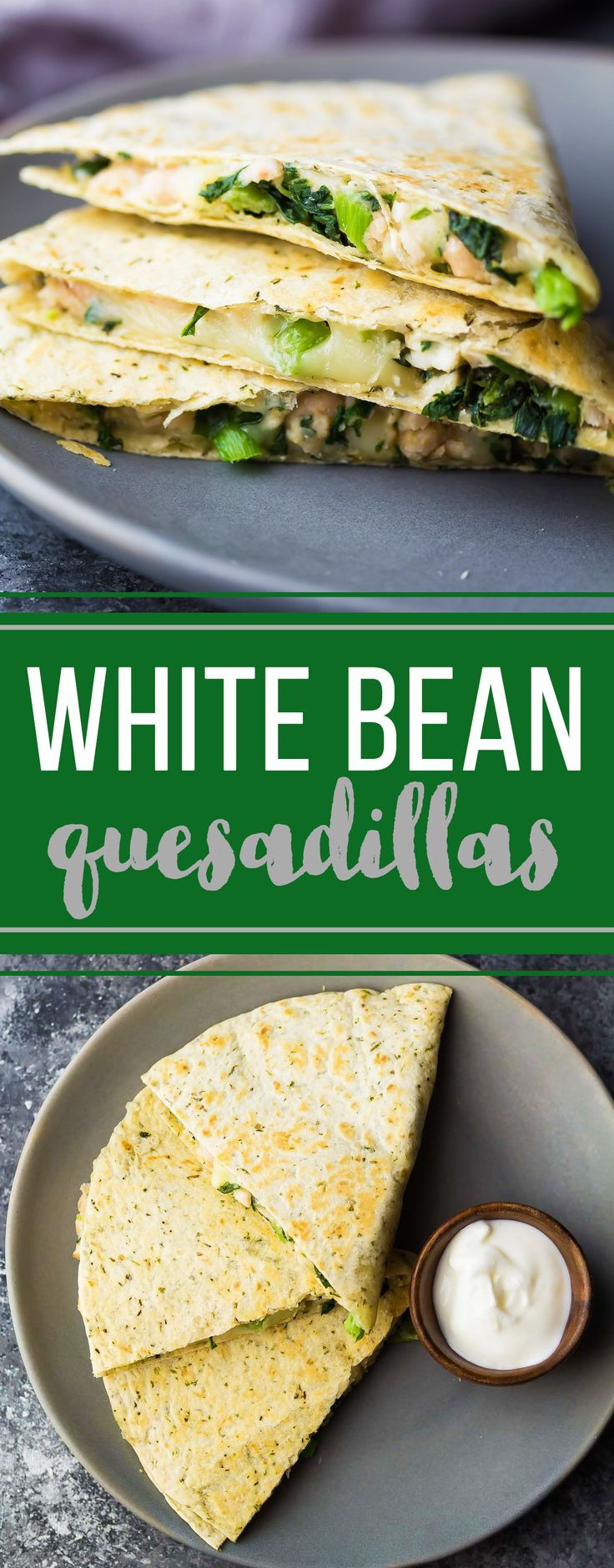 Make these smashed white bean and spinach quesadillas ahead and stash them in the freezer for a healthy grab and go lunch!