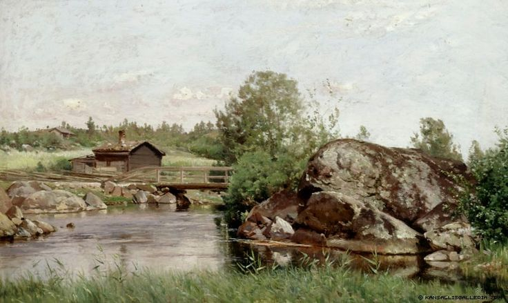 Hjalmar Munsterhjelm (1840-1905) Puromaisema / Brook landscape - Finland