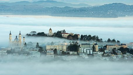 Rising up through the fog, the campus of USF (University of San Francisco) looked like it came right out of a fairytale!