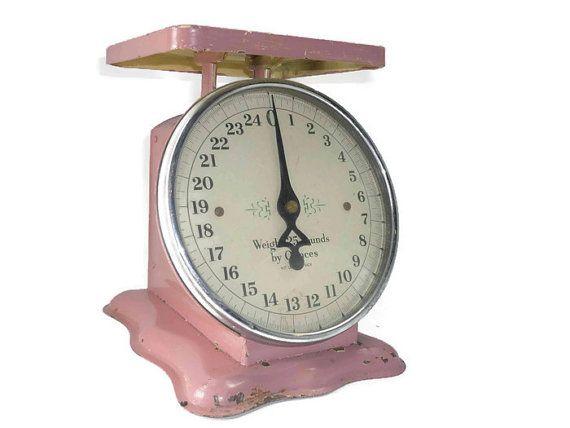 Vintage Pink Kitchen Scale Farmhouse Decor Chippy by ChromaticWit