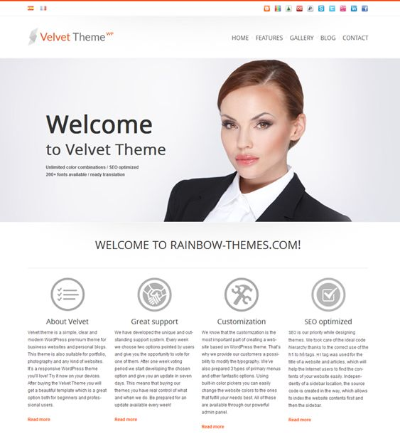 This responsive WordPress theme features SEO-friendly code, unlimited colour options, a custom slider, a Twitter widget, a built-in contact form, filterable image/video gallery, and much more.