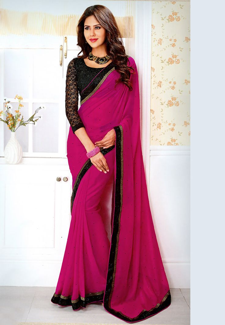Fuchsia Faux Chiffon Saree With Blouse: SBM3814