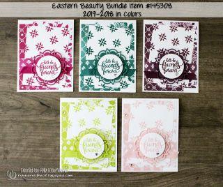 Eastern Beauty In Color Cards  #stampinup #cards #crafts #thankyoucard #rubberredneck #freshfloraldsp #bigshot #rubberredneckpromo