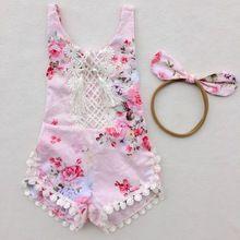 Novo 2017 boutique floral impressão romper do bebê macacão menina bloomers Plissado Romper roupa Dos Miúdos combinado com headband(China (Mainland))