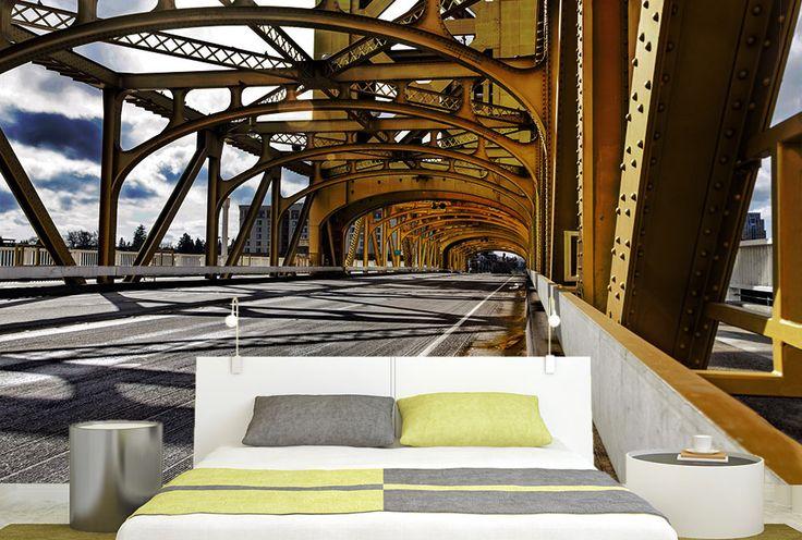 YELLOW BRIDGE Trompe-l'oeil pont jaune métallique.