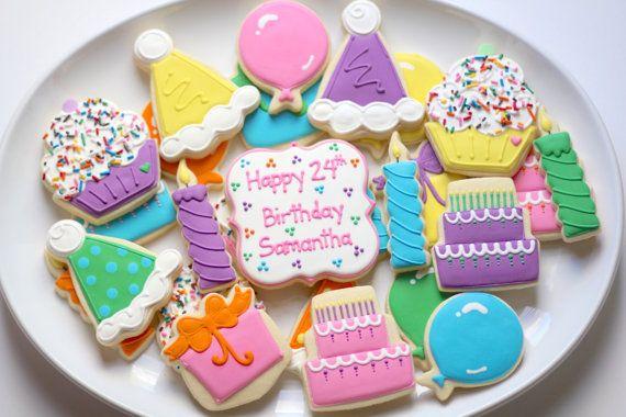 Happy Birthday Sugar C... Round Birthday Sugar Cookies