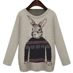 Stylish Round Collar Long Sleeve Bunny Pattern Loose-Fitting Women's Sweater