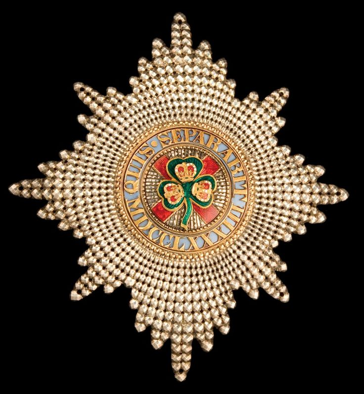 The Most Illustrious Order of St Patrick, breast star, with pierced silver rays and centre in gold and enamels, circa 1810-20, made or retailed by Willm. Gray, 13 New Bond Street, 88 x 81mm, extremely fine