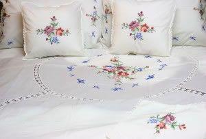 Cross Stitched Roses Bedding ensemble  SHOP NOW https://thelaceandlinensco.com/store/products/cross-stitched-bedding   #shopvintage #vintagedecor #weddings #lace #battenburg #antique #handembroidered #vintagedoily #vintagefinds #victorian #vintagegoods #vintagelinens #linens #vintagetablecoth #tablecloth #decor #cotton #bedding #cottage #home #1940s #curtains #shower #french #vintagecotton #diy