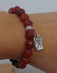Carnelian charm bracelet - Chocolate charm bracelet
