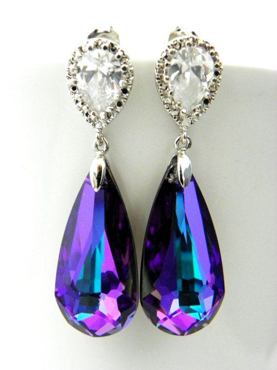 Peacock Wedding Earrings: Purple Earrings, Heliotrope Swarovski Crystal, Cubic Zirconia Jewelry, Sterling Silver, Purple Bridesmaid Earrings via Etsy