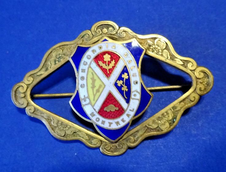 "Vintage Montreal Coat of Arms Brass & Enamel Pin ""Concordia Salus"" Quebec 2-1/2"""