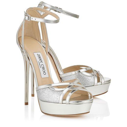 Laurita 115 Platform Sandals in Silver Mirror Leather and Fine Glitter.