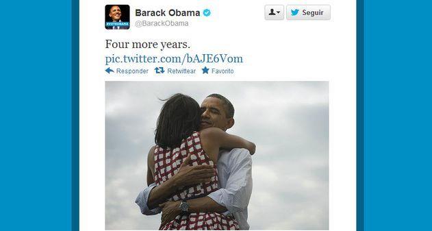 """El uso de las redes sociales durante las elecciones de Estados Unidos, fue un factor fundamental para los votantes y paraBarack Obama, quienha sido reelecto Presidente de los Estados Unidosy se ha ganado también el """"título"""" del tweet más popular de todos los tiempos."""