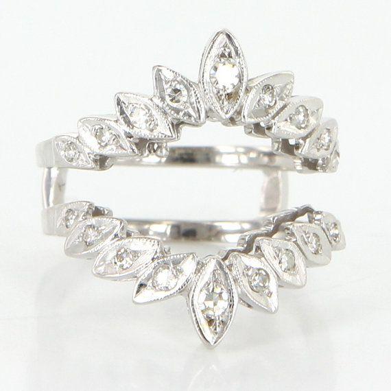 Vintage 14 Karat White Gold Diamond Wedding Ring Guard Wrap Bridal Jewelry