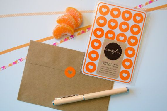 24 Envelope Seals in Marigold Orange  Handmade by atomicAntDesign