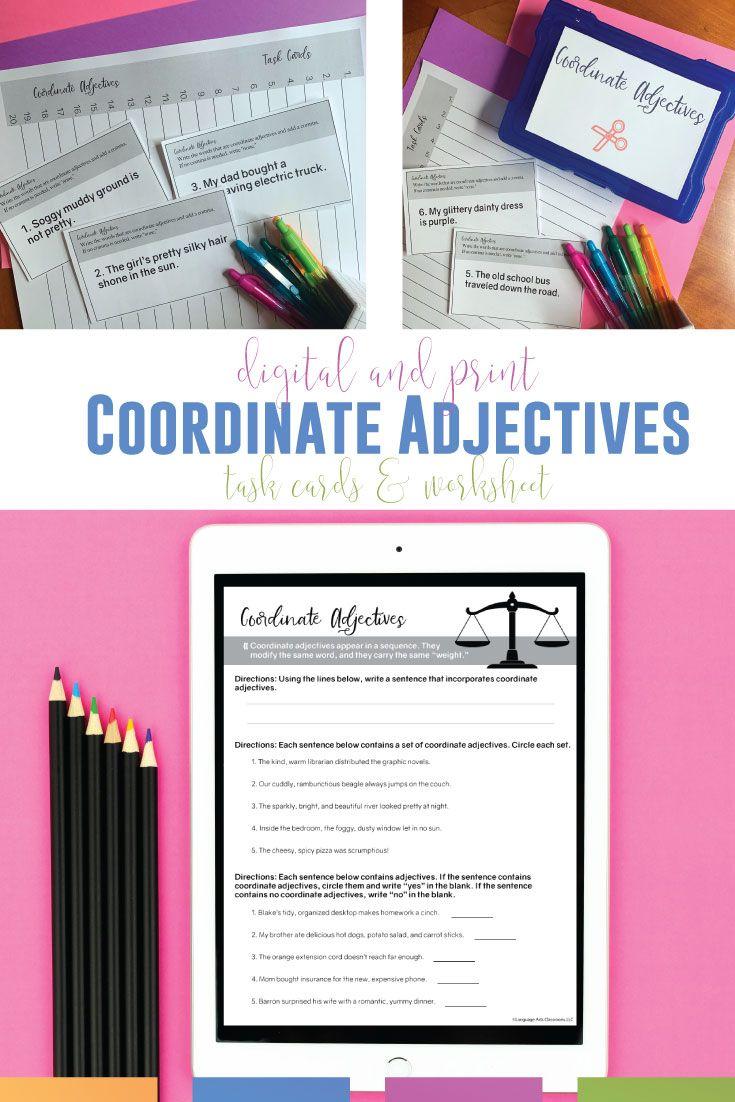 medium resolution of Coordinate Adjectives   Middle school english classroom