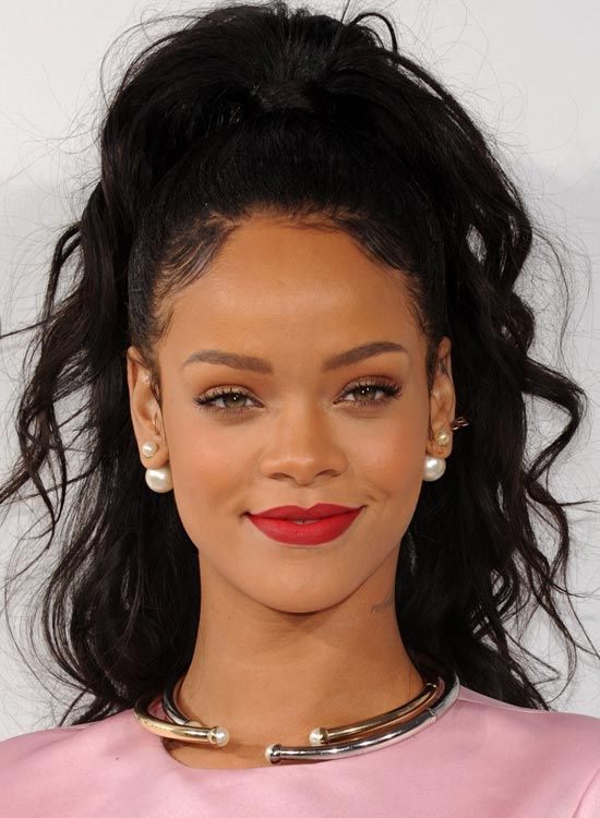 Long Wavy Hairstyles - Messy High Ponytail