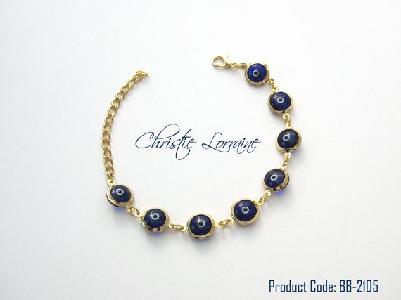 Gold Plated Evil Eye BraceletBlue Beads by CHRISTIELORRAINE, $13.90