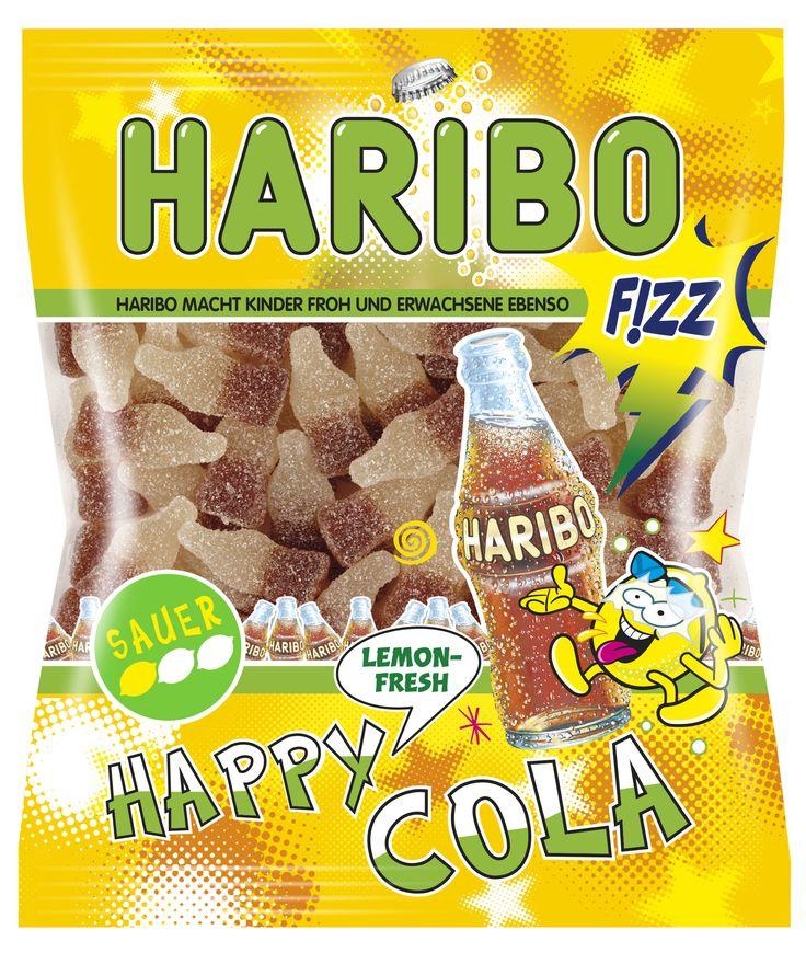 HARIBO HAPPY LEMON-FRESH COLA SAUER aus unserer sauren F!ZZ-Range bieten ein spritziges Gaumenerlebnis mit einer milden Säure (Stufe 1 des Säurometers) in den trendigen Geschmacksrichtungen Cola-Zitrone.
