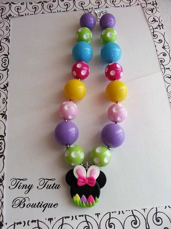 MINNIE MOUSE Easter BUNNY Chunky Necklace- Chunky bubblegum necklace, Girls chunky necklace, Gumball necklace, Bottle Cap necklace on Etsy, $17.50