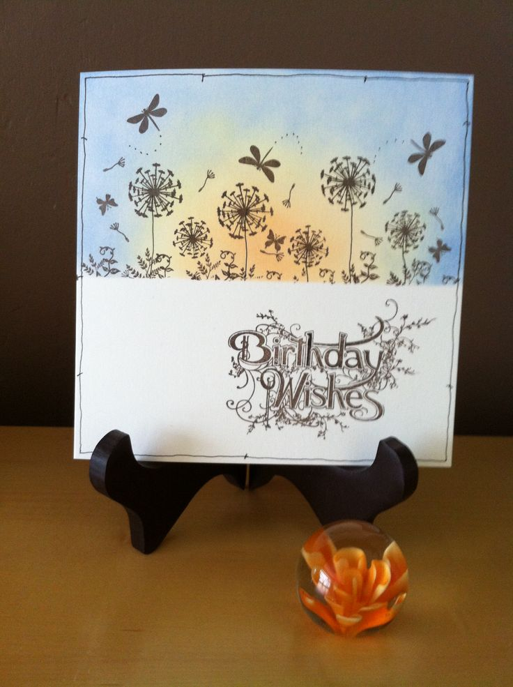 This card was instired by a sample that I saw at a craft show at the excell in London. I used the dandelions at dusk set but I didn't use the leaves from this set, I replaced them with some from another set .
