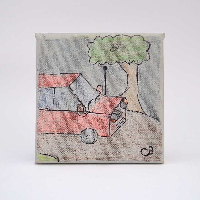 Car Illustration / Drawing on Canvas. Original Artwork by Caden's Concoctions