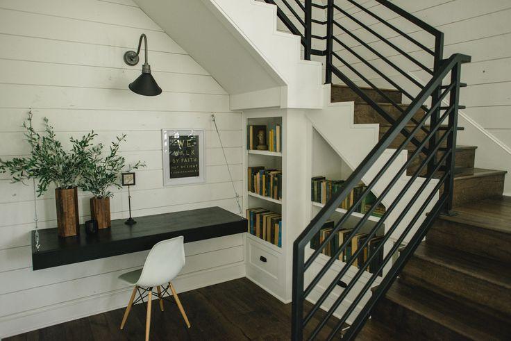 bookshelves and floating desk The Barndominium – Magnolia Market