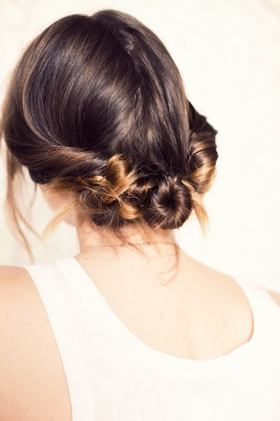 Three Twisted Buns. adorable and looks super easy