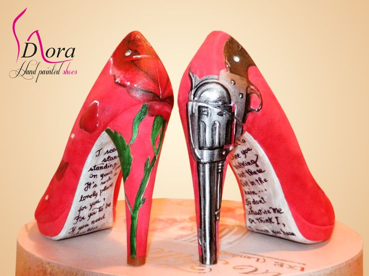 https://www.facebook.com/pages/DORA-Hand-Painted-Shoes/144006675801939  #shoes #handpainted #hand #painted #rocket #queen #fashion #art #ooak #scarpe #dipinte #mano #gnr #gunsandroses #gun #red #rose #pistola #rosa #rossa #hight #heels #tacco #alto