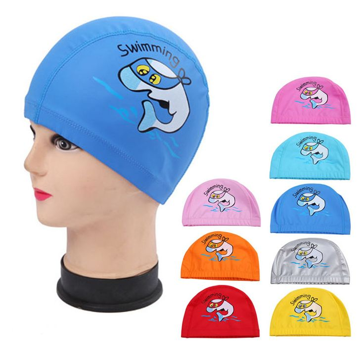 PU Fabric Cute Cartoon Animal Dolphin Kids Children Swimming Cap Waterproof Protect Ears Long Hair Boys Girls Swim Pool Caps Hat ** Read more reviews of the product by visiting the link on the image.